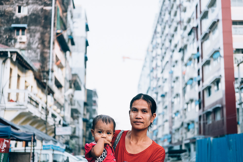 Mother and Child, Yangon Downtown, Myanmar - Photographer